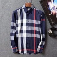 Wholesale In The New Brand of Men s Shirts Grid Stripe Long Sleeve Shirt Cotton Men Business Casual Jacket Size M XXXL Male Clothing