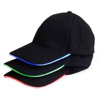 ball and tube - 50pcs LED baseball Hat Cotton Optic Cap Led Tube Luminous Hat for Women and Men Party Sports Cap different colors