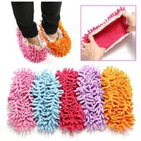 Wholesale Multifunction Chenille Cleaning Mop Shoes Mophead Overshoe Floor Dust Cleaning Slippers Good Helper