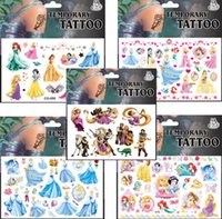 Wholesale Cartoon Princess children custom Flash kids colorful Tattoo Stickers Waterproof Henna Car Styling children Sticker