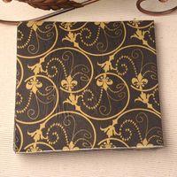 Wholesale New Vintage table napkins paper tissue towel black printed gold flower decoupage wedding serviette party cocktail Guardanapo home decor mats