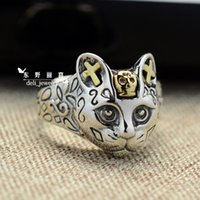 Wholesale High grade real pure sterling silver old silver rings cat opening adjustable fashion punk rock metal gothic vintage for women