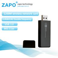 al por mayor adaptador de red inalámbrico externo-ZAPO Nuevo 1200 Tarjeta de venta al por mayor red inalámbrica externa Mbps 5 GHz + 2,4 GHz Banda El adaptador USB WiFi Wireless Lan en stock