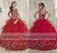 Wholesale Little Girls Pageant Dresses wear Crew Neck Beaded Crystal Tiered Skirts Red Formal Party Dress for teen Kids Flowers Girls Gowns