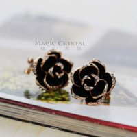 apple jewelery - New Arrival Italina Red Apple fashion jewelery Earrings k rose gold plated Crystal Earrings Black rose