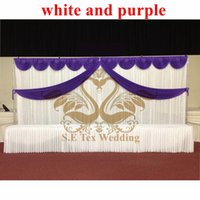 Wholesale White And Purple Color Wedding Backdrop Stage Curtain M M