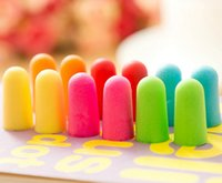 Wholesale Foam Sponge Earplugs Great for travelling sleeping reduce noise Ear plug Noise Reducer randomly color