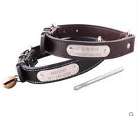 Collar de perro especializado de cuero genuino con campanas letras grabadas libremente para la cadena del perro de mascotas prevenir perdido, perrito pequeño perro grande gato