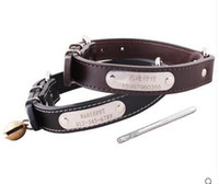 big cat bell - Retails specialized genuine leather dog collar with bells engraved lettering freely for pet dog chain prevent lost small big cat dog teddy