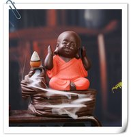 Wholesale 2016 Back three little monk Yixing creative incense incense incense burner incense line ceramic Home Furnishing office car decoration