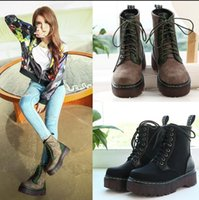 army style boots - Trendy Retro Wind Army Style Lace Up Platform Ankle Boots Women Martin Boots New Size To