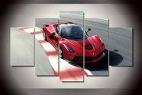 achat en gros de cadres photo pour les voitures-5Pcs Avec Framed Imprimé voiture de sport rouge Peinture sur toile décoration chambre impression photo poster toile encadrée maison de l'art
