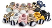 baby shoes pair - 12 pairs can mix styles No brand Newest Baby girl Moccasins Soft Bottom Butterfly knot stripe Baby girl Shoes Tassels Baby Shoes