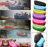 Cheap Camping Sleeping Bags Fast Inflatable Sofa Portable Hiking Bed Banana Sleep Bag Beach Outdoor Laying Air Beds Chairs 50pcs OOA450