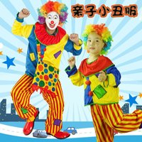 Wholesale Halloween Costumes Adult Kids Funny Circus Clown Costume Naughty Harlequin Uniform Fancy Cosplay Clothing for Men Women Children