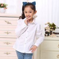 Wholesale Kids Girls Fashion Long Sleeve Lapel Shirt Children Casual Shirts Tops Blouse