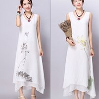 Wholesale Summer dresses Spring and summer new style National style Ink print Cotton and linen Loose Plus size Slim Temperament dresses
