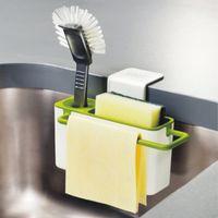 Wholesale DIY Brush cloth Sponge Sink Draining Towel Rack sponge holder with suction cup Kitchen storage rack Green White