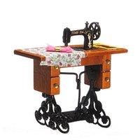Wholesale 1 Pretend Toy Vintage Miniature Sewing Machine Furniture Toys for Barbie Doll House Decor Retro Children Toys Accessories