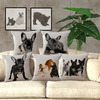 Wholesale 10 TYPE French Bulldog Throw Pillow Cases Animal cotton Linen Pillow Cover case square Pillowcase Pillowslip Christmas Gift