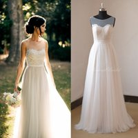 Wholesale Fairy Lace Chiffon Bohemian Wedding Dresses A Line Summer Beach Garden Bridal Gowns Appliqued Sheer Jewel Neck Long Wedding Party Gowns