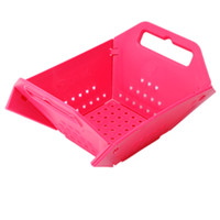 Wholesale Multi function Foldable Storage Basket with Drain Vegetables Fruit Basket Food Books Desktop Storage Cupboard Basket J03506