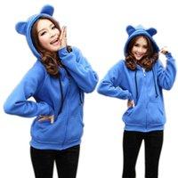 bear big ears - Yomsong Cute Bear Ear Zipper Hooded Coat Jacket Chic Casual Big Hat Hoody
