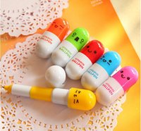 Wholesale 50pcs creative cartoon pens pills retractable pen with cute facial expression gift or prize for primary school students vitamin ballpen