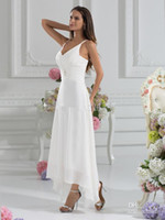 ankle length wedding dress - Cheap A Line V Neck Ankle Length Beach Garden Wedding Dresses With a Wraps Sexy Low V Back Party Gowns A Line Chiffon Wedding Dresses