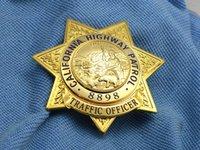 antique brass light - California State Highway Patrol TRAFFIC OFFICER CHP metal badge