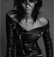 Wholesale 2016 fashion spring new black turn down collar off shoulder zipper woman coats motorcycle sexy slim biker faux leather