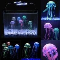 Wholesale Beauty Artificial Fake Jellyfish Acuario Aquarium Decoration Colors Fish Tank Acuarios Ornament Lifelike Aquarios Decorations