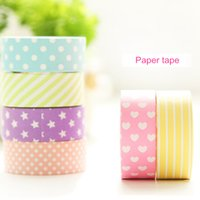 Wholesale 2016 Decorative Scotch paper tape Purple star Rose heart dots mm m masking tapes Adhesive stickers stationery