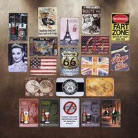 Wholesale Vintage mixed metal Tin Signs pieces set art wall painting Bar Sofa Home Retro wall decoration CM