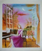 abstract piano - hand painted canvas oil painting modern abstract figure piano girl player for dinning room bedroom home wall decor