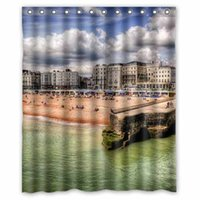 Wholesale USA Houses Coast Sky Brighton Beach New York City Beach HDR Cities Custom Fashion Waterproof Fabric Bathroom Shower Curtain x180cm