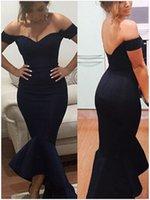 2016 de la sirena del hombro mangas del casquillo de los vestidos de noche sin espalda de la cremallera de la colmena de los vestidos de baile vestido de la celebridad de la alfombra roja vestidos de Modest barato