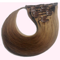 Wholesale Cheap A grade inch Unprocessed Brazilian human Hair Sexy set straight extension g set High quality Indian clip in on hair
