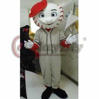 Mascot Costumes baseball mascot - Adult Unisex Halloween Baseball Mr Met mascot Mascot Costume Cartoon Bodysuit Costumes With Red Hat Custom Made D0404