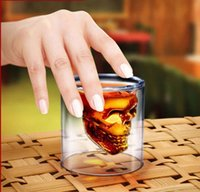 beer decorations - hotsale drinking glasses dobule wall whiskey glassware wine glass creative thermal Skull glass cup