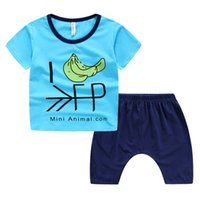 banana boy - Quality exported baby clothes banana kids cotton clothes baby boy sets t shirt PP shorts Harem boys clothing pre school outdoor