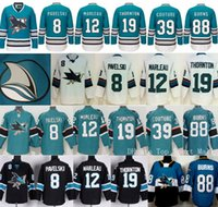 San Jose Sharks Maillots de hockey sur glace Stade Série 8 Joe Pavelski 12 Patrick Marleau 19 Joe Thornton 39 Logan Couture 88 Brent Burns 48 Hertl
