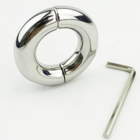 Wholesale 2016 NEW Stainless Steel Cock Ring Metal Locking Ball Stretchers Sex Toys For Men Scrotum Stretcher Testicular Restraint