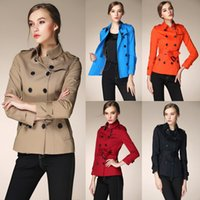 american freight shipping - Women Short Trench Coat Top Fashion Cotton Anti Wrinkle Material Brand New Designer Runway Style Fast Shipping Free Freight BUR9116