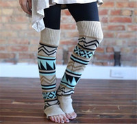Wholesale Christmas Bohemian Women Crochet Knitted Winter Leg Warmers Trim Boot Cuffs Toppers Socks knee high boot socks B938