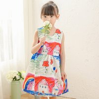 big house clothing - New Kids Baby Girl Princess Dress Colorful House Printed Clothes Summer Vest Sleeveless Dresses Skirt Fashion For Baby Big Girl DRG32