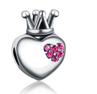 Wholesale Sterling Silver Heart Crown Crystal Bead Fit European Pandora Bracelets Big Hole Beads Charms For Diy Necklace Jewelry