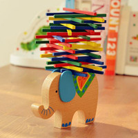 baby balance beam - Factory direct color bar game sticks the balance beam elephant balance parents and children toy one piece baby wooden toy