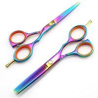 Wholesale Professional inch c titanium Hairdressing Scissors shears kit barber Cutting Thinning hair scissors set