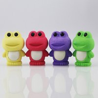 Wholesale 4PCS Cute Cartoon Frog DIY Rubber Eraser School Student Children Prizes Gift Promotion Assemble Toy Random Color
